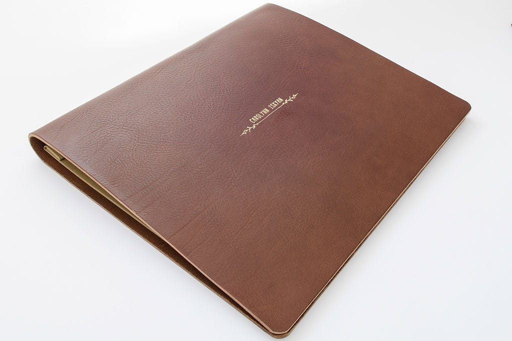 11 x 14 Flip Over leather portfolio in 3.5mm brown leather with gold foil personalisation