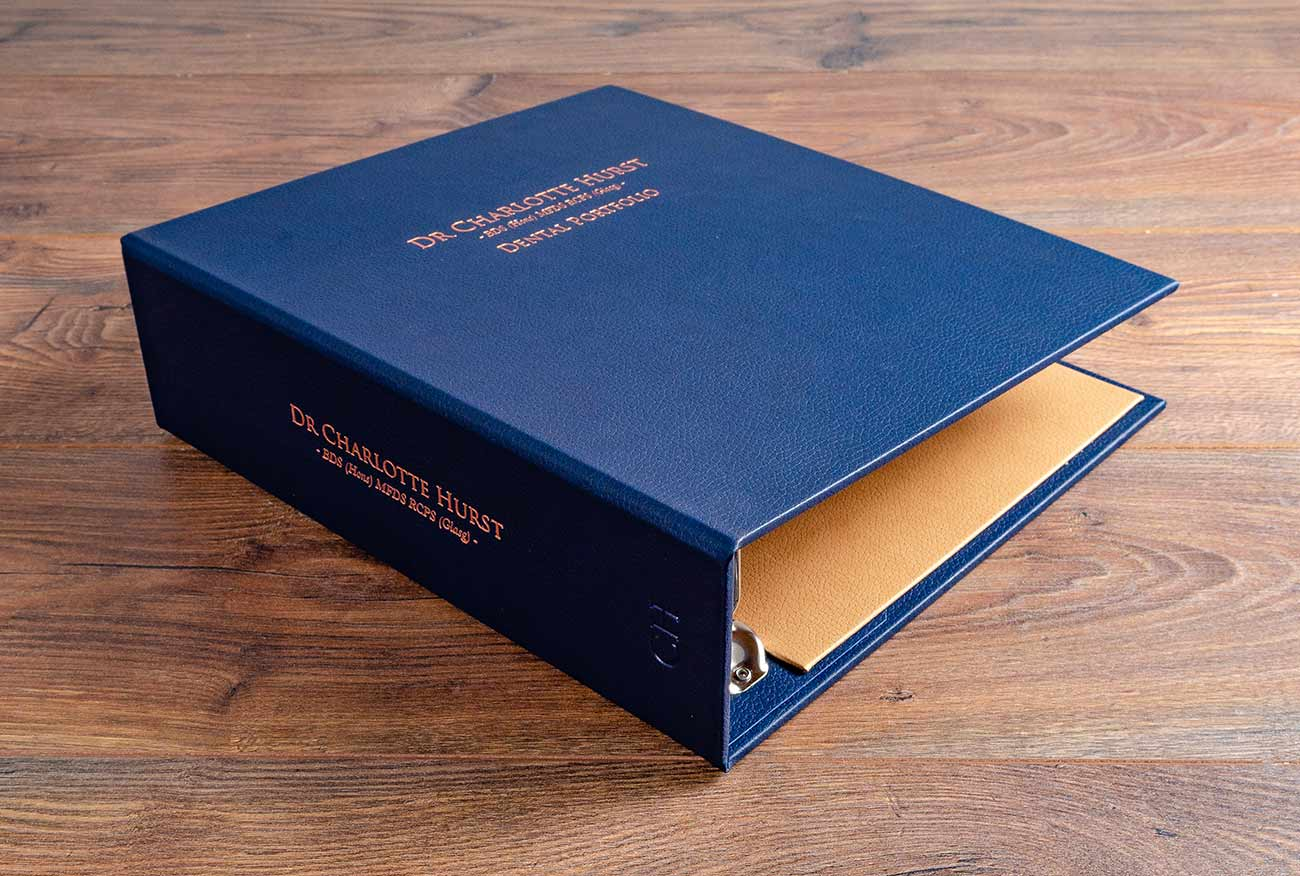 Dental portfolio in Midnight blue faux leather with personalised spine and cover