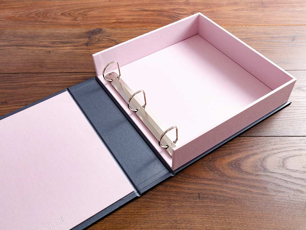 custom made bespoke 12x12 box binder with 3 ring binder mechanism by hartnack and company