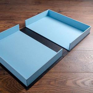 A3 clamshell box in blue and black