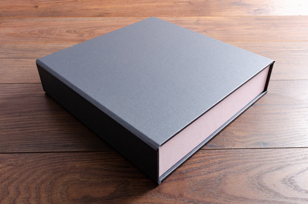 8.5 x 11 clamshell box binder in Pewter book cloth