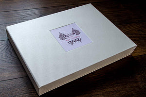 pearl buckram portfolio box with inset space for card