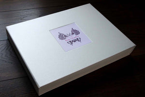 presentation portfolio box in cream cloth with inset and design printed on a card