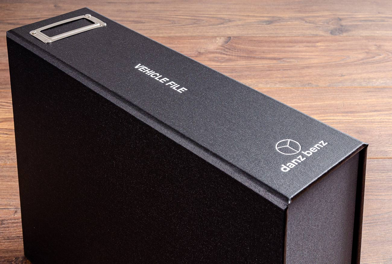 The spine of vehicle document box file is personalised in white foil and has metal card holder to put the cars details in