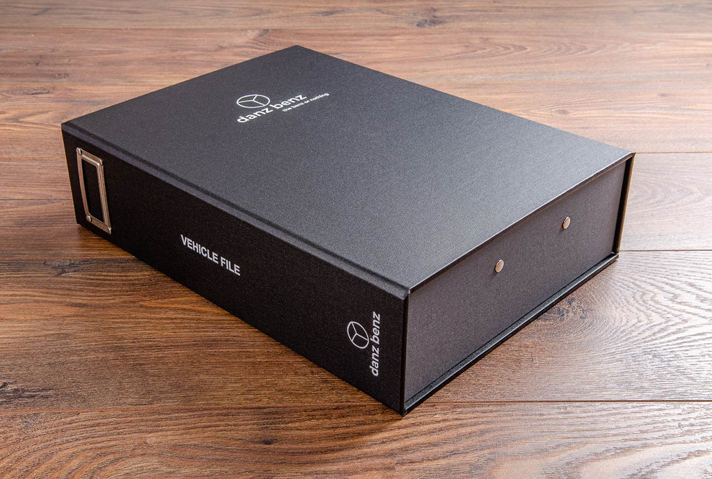 A custom made vehicle document box for a Mercedes enthusiast in Black buckram and Plate book cloth