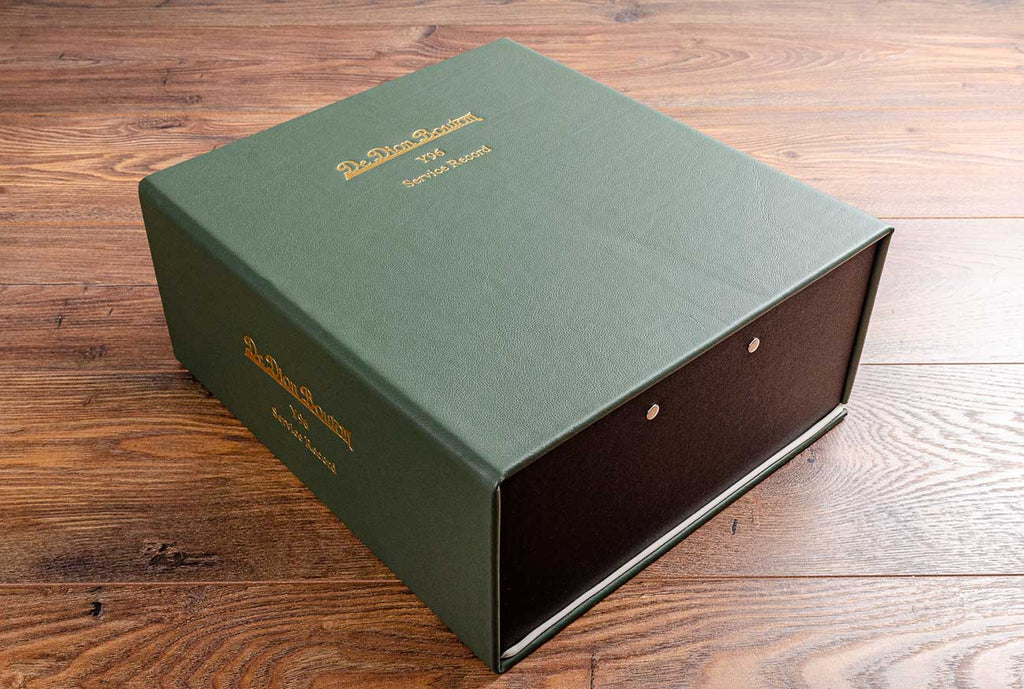 Service record document box in sage green leather and gold foil personalisation