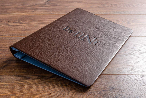 A4 personalised brown leather menu cover