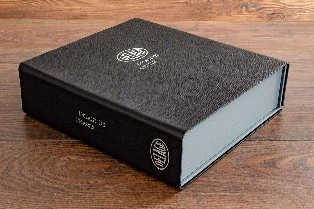 Clamshell leather box file in 2.5mm black leather with silver foil personalisation