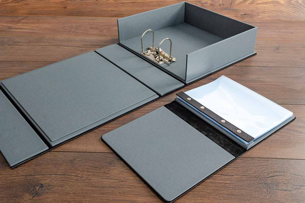 Lever arch box file and A5 leather album for vintage car restoration pictures, documents and history