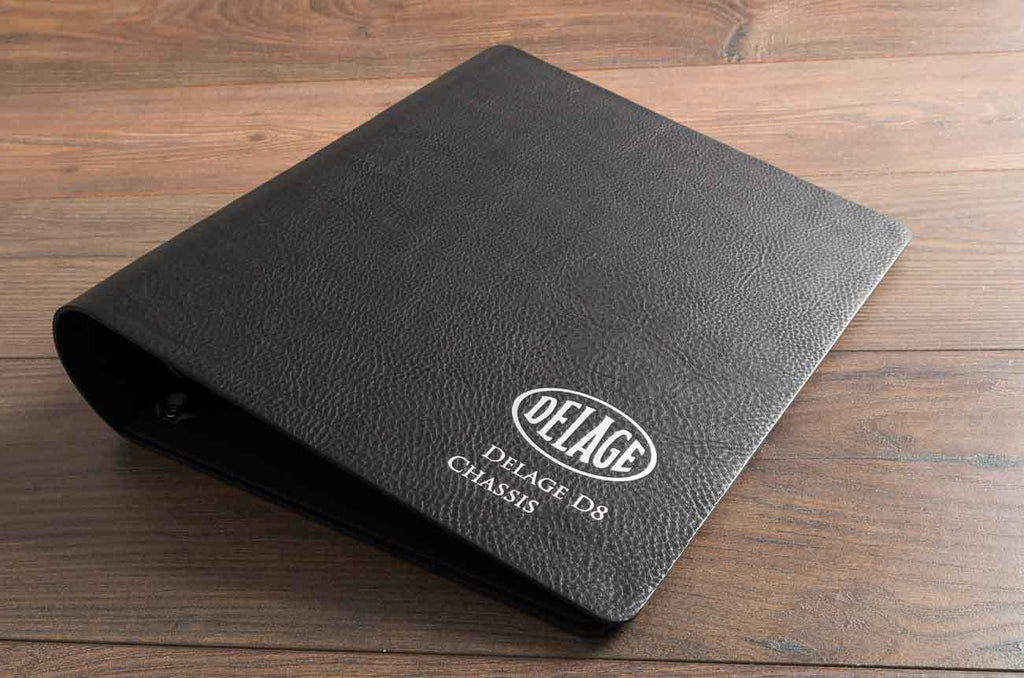 Black 2.5mm leather ring binder for classic car vehicle service and receipt documents