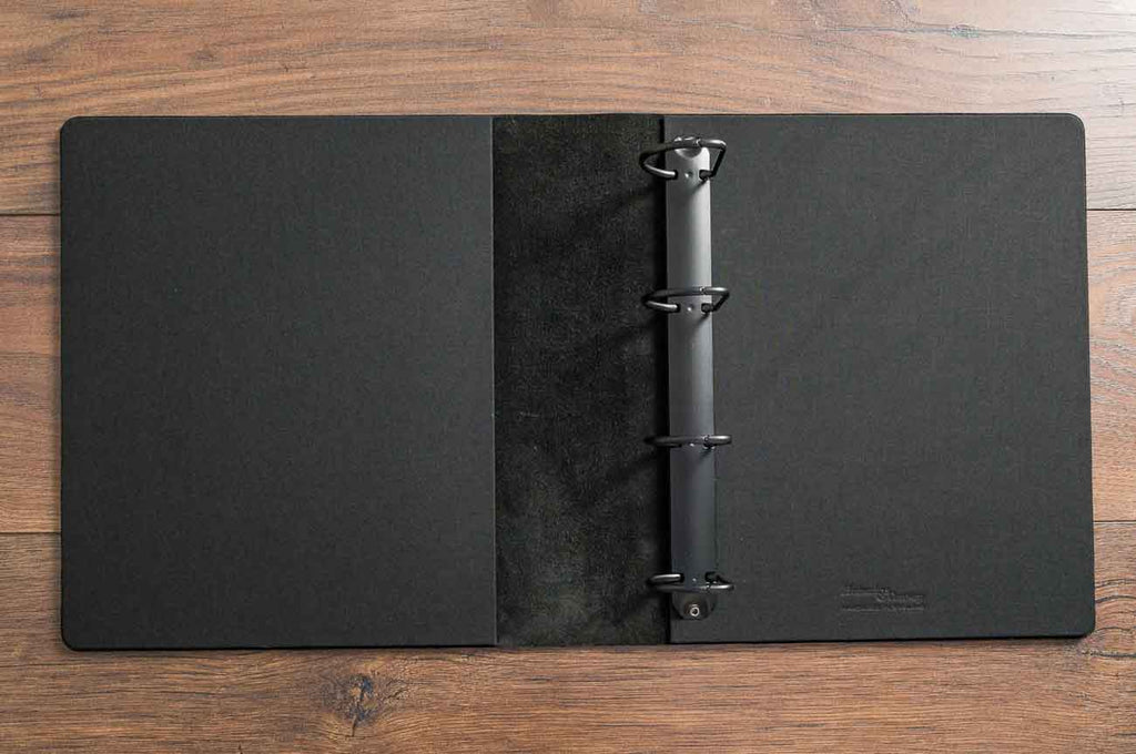 Black leather car folder with 4.5cm D ring binder mechanism and Main black book cloth