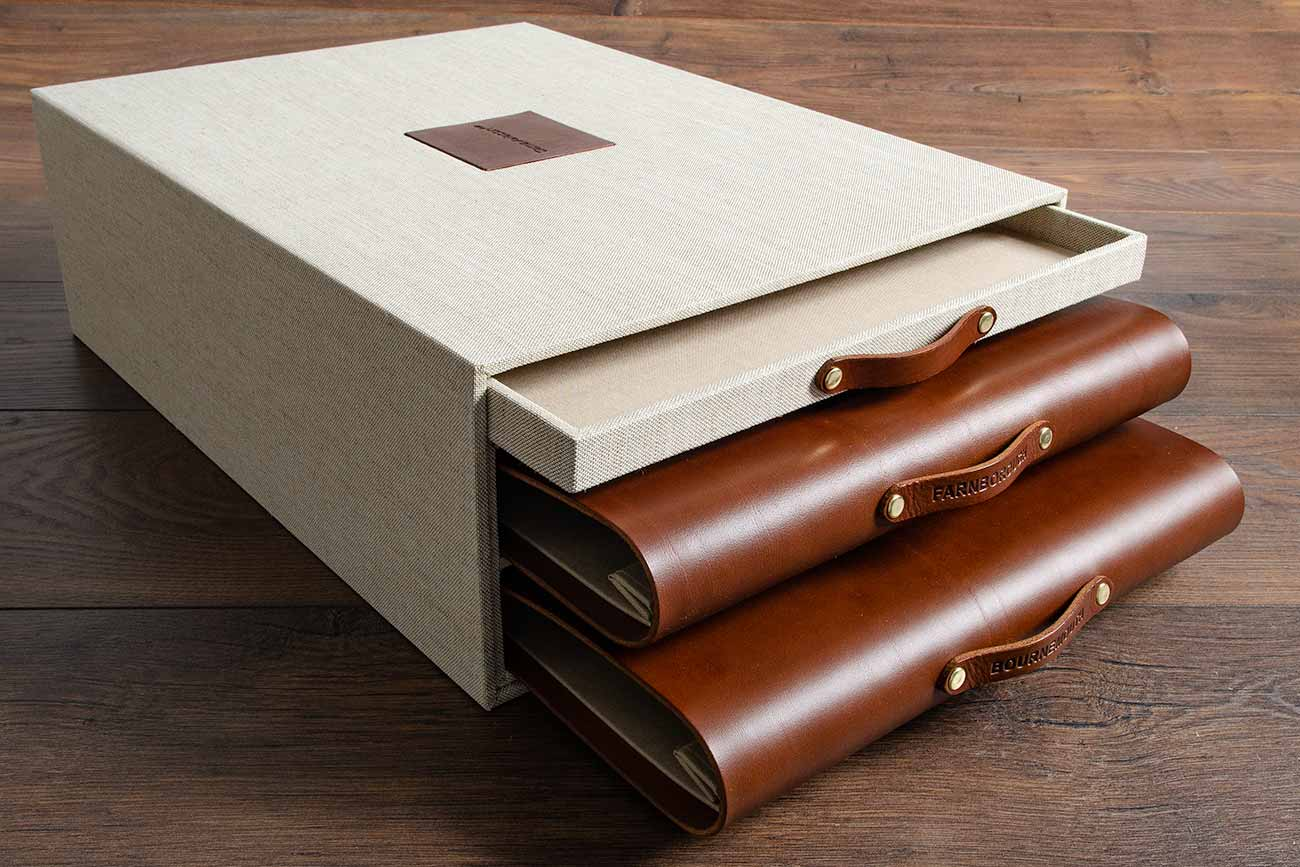 Slipcase drawer box for two leather portfolios and one document drawer