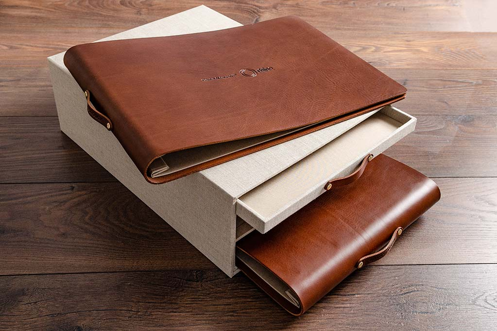 custom made leather presentation portfolio and slipcase box for commercial bid tender