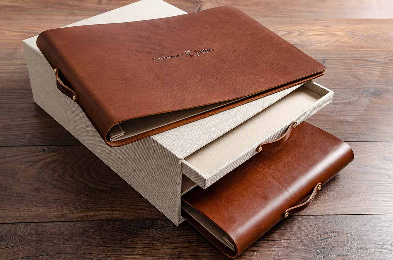 A3 leather portfolio sitting on drawer box