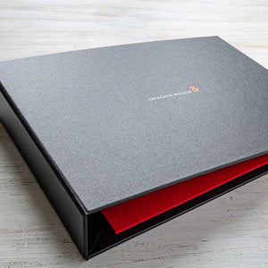 Custom made personalised A4 ring binder visitors book in black and red with foil embossing