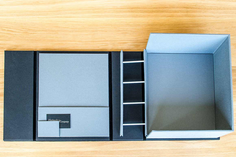 Bespoke Box File with horizontal packet and business card holder