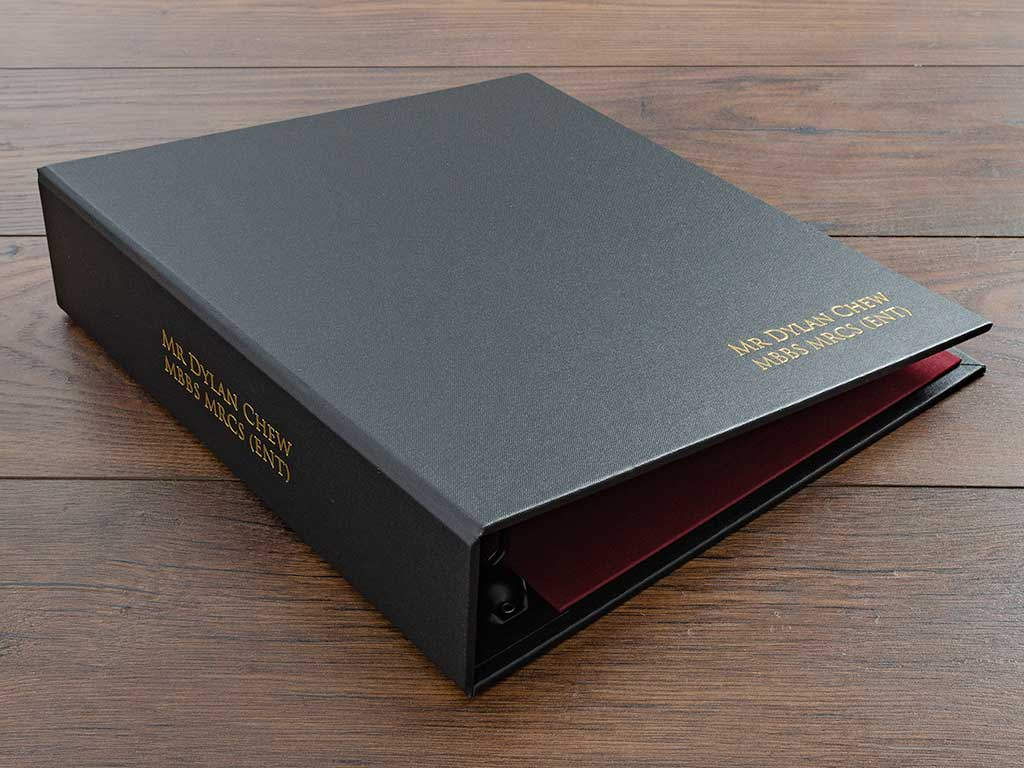personalised medical portfolio with colour foil on the spine and the cover.