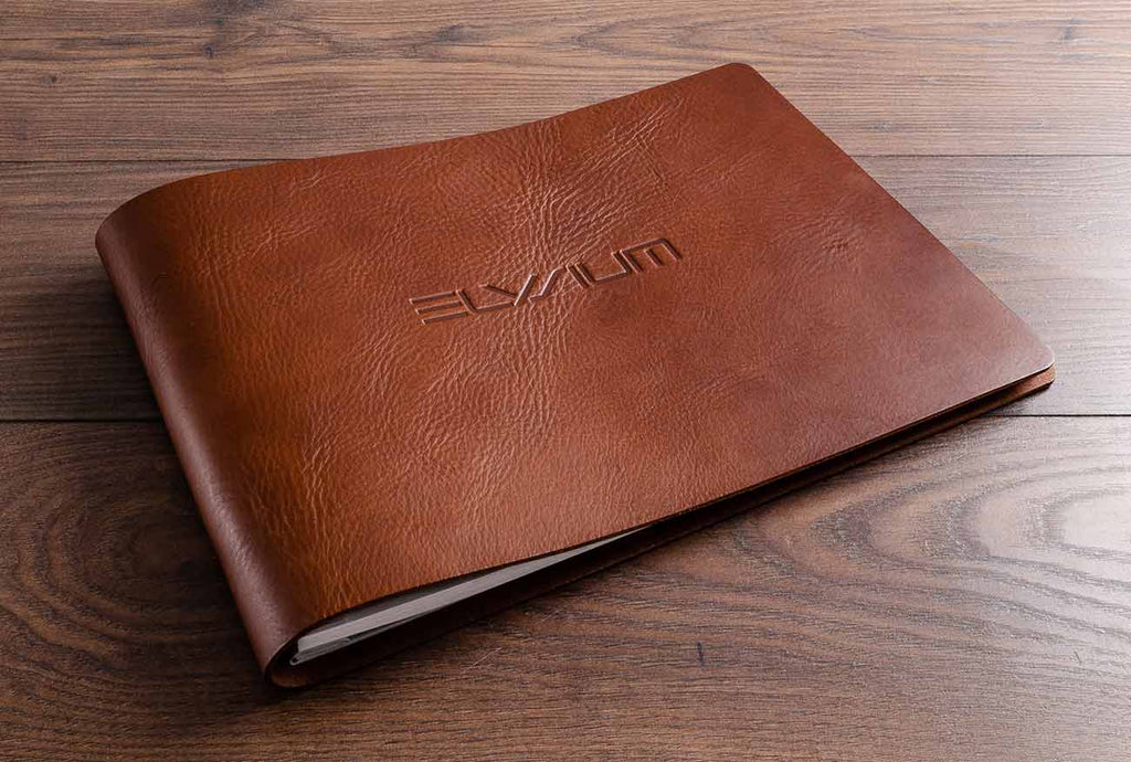 3.5mm brown leather guest book with blind debossed personalisation