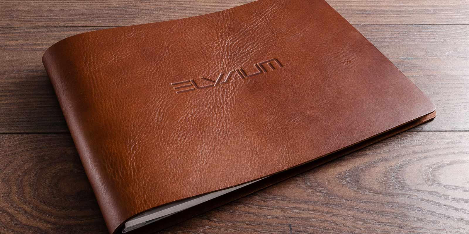 A4 luxury leather guest book with embossed cover