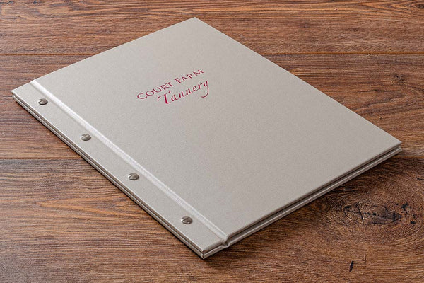 Buckram durable easy to clean but quality personalised menu cover