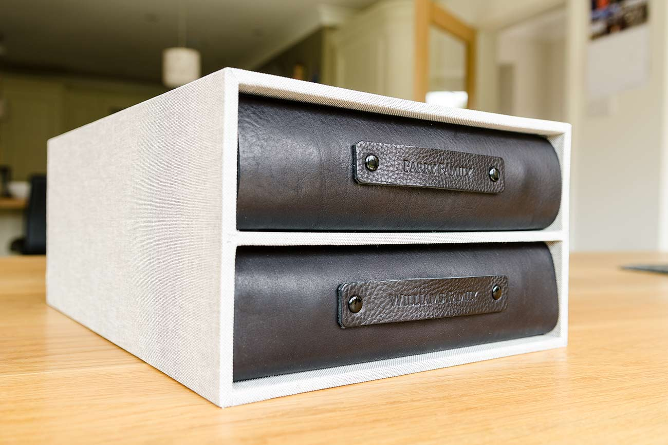 Double Family History Albums in Bespoke Slip Case by Hartnack & Co