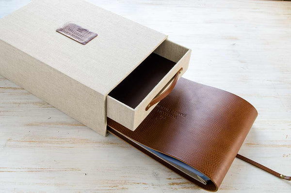 box with drawer and leather folder for storage of family history papers and photos