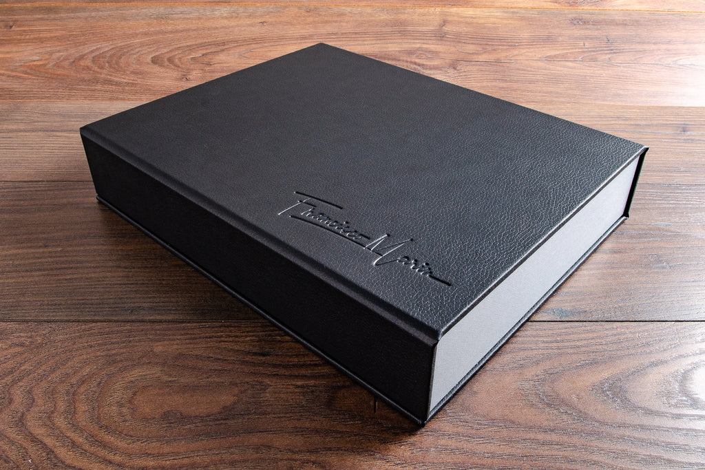 11 x 14 Half clamshell box in black faux leather and blind debossed personalisation