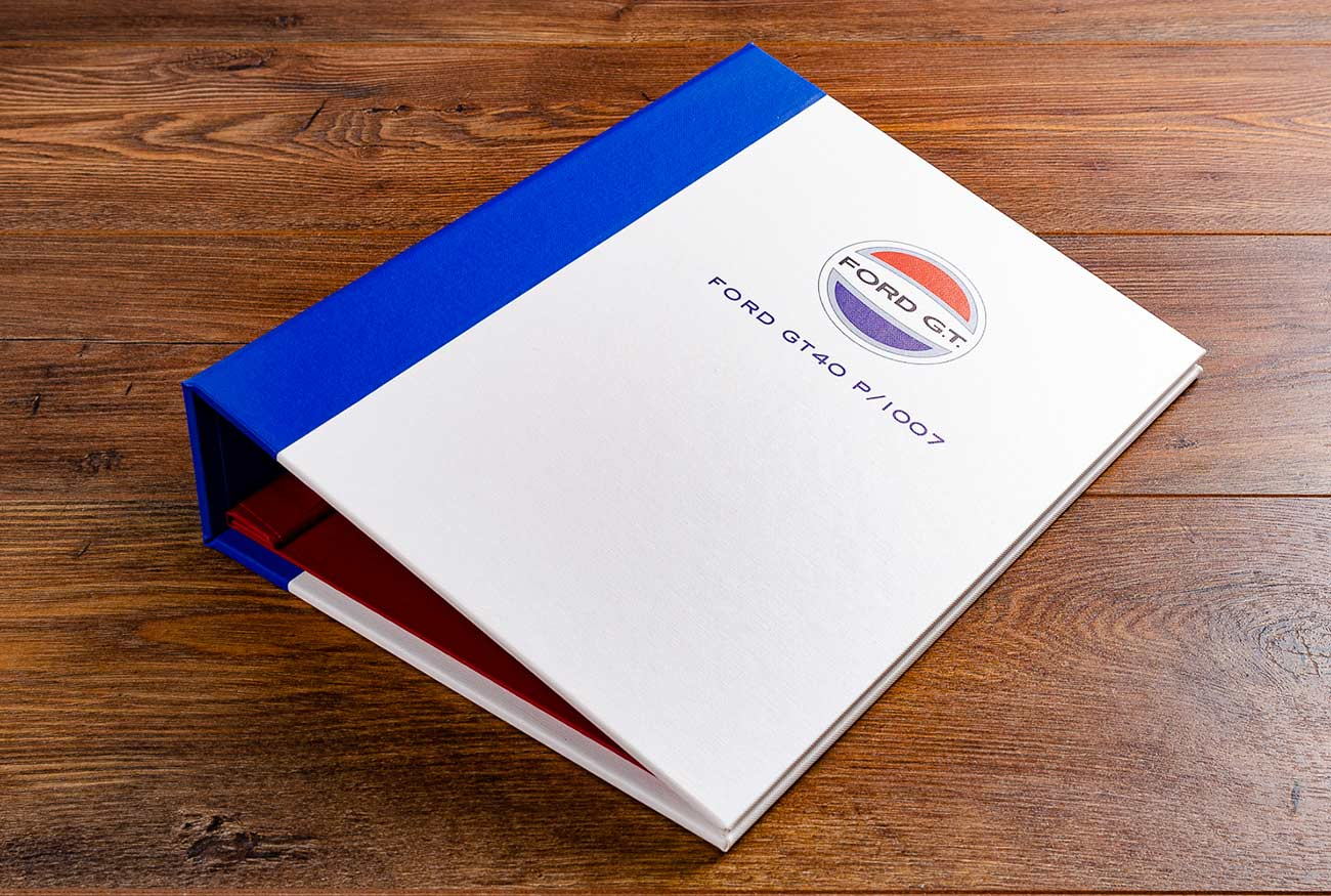 A4 classic car document screw post binder with colour UV printed GT40 emblem and chassis number
