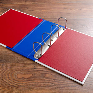 Large D ring binder mechanism with red buckram inner covers