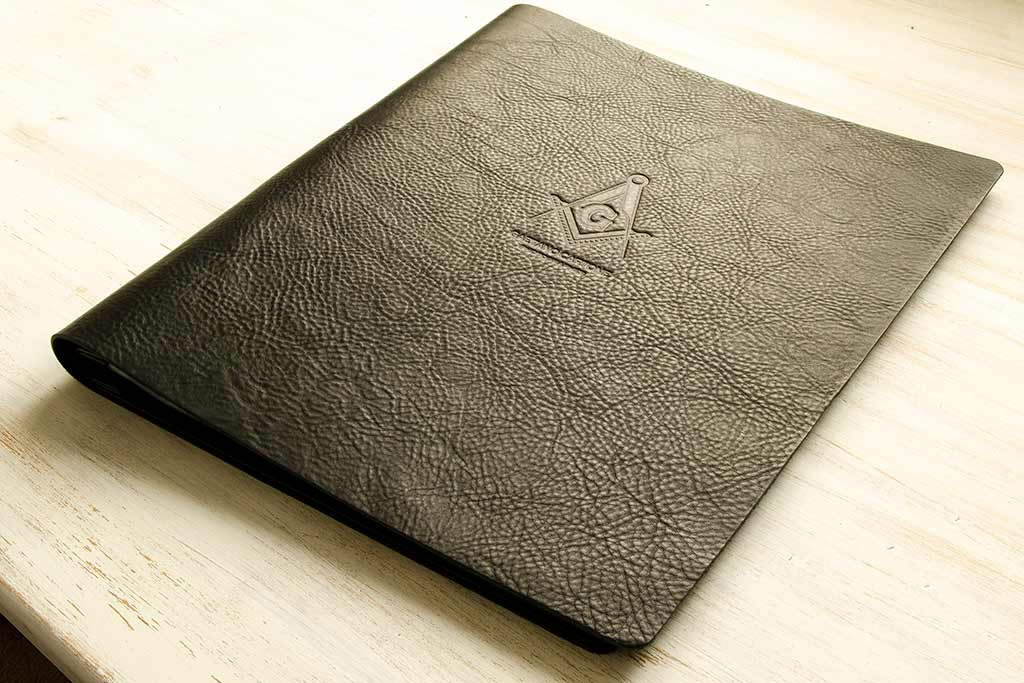 A3 portrait leather portfolio in 2.5mm black leather with blind debossed personalisation
