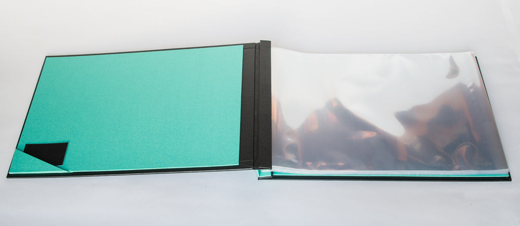 Inside cover of custom Hartnack and Co presentation portfolio binder