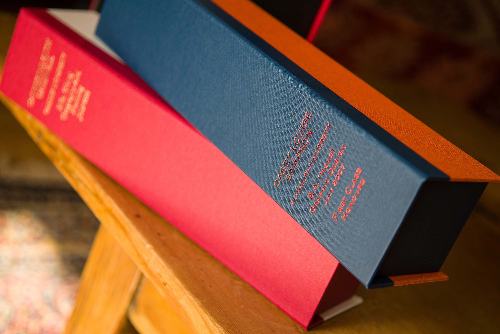 University Diploma Certificate Storage Box in College Colours and Personalised Spine