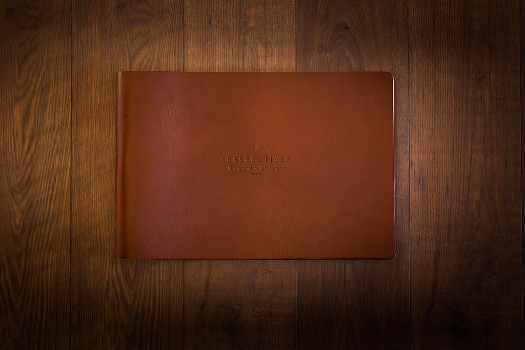A3 landscape photography portfolio in 3.5mm brown leather with blind debossed personalisation