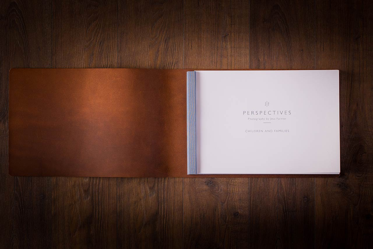 Leather Photography Portfolio Book for Family and Children Photographer Jess Farmer