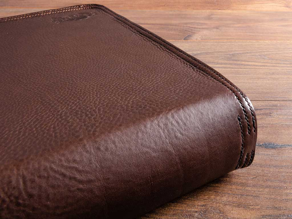 large leather portfolio binder with hand stitching details
