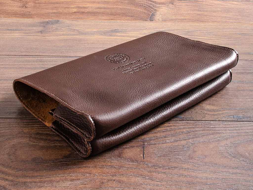 leather document wallet for classic car history and documents with austin healey logo embossed on the cover