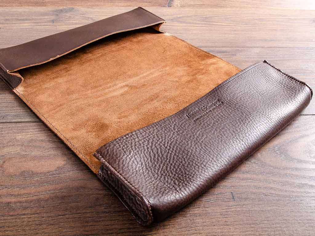 The Healey Sprite's document wallet has double pouches and is hand stitched