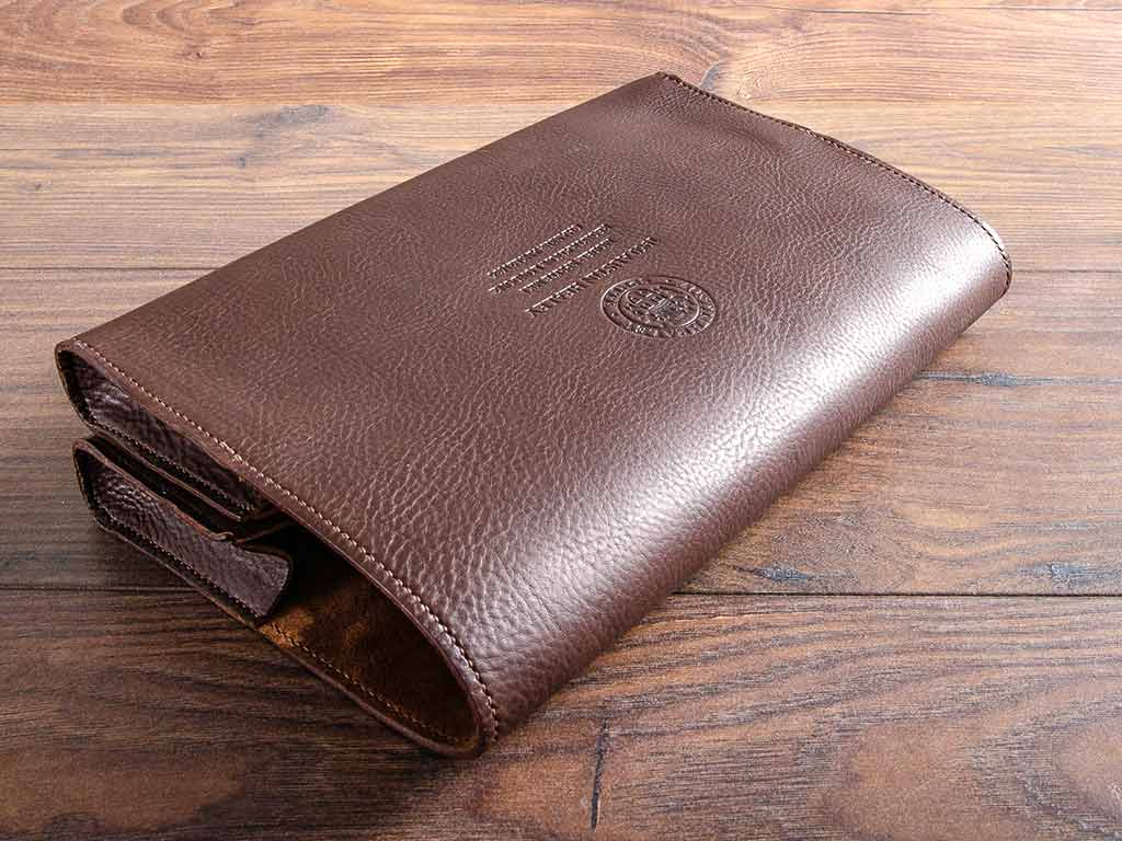 Brown leather double document wallet for an Austin Healey Sprite hand stitched and made from our dark brown 2.5mm veg tanned leather