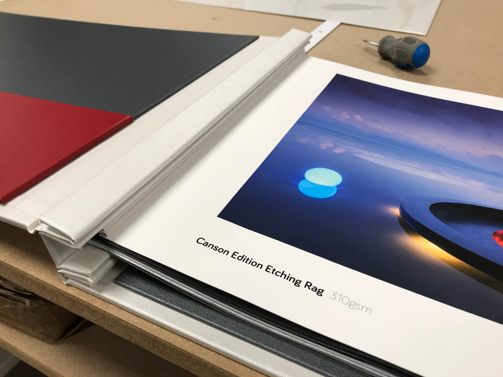 photography portfolio binder with print inserted using hinge strips