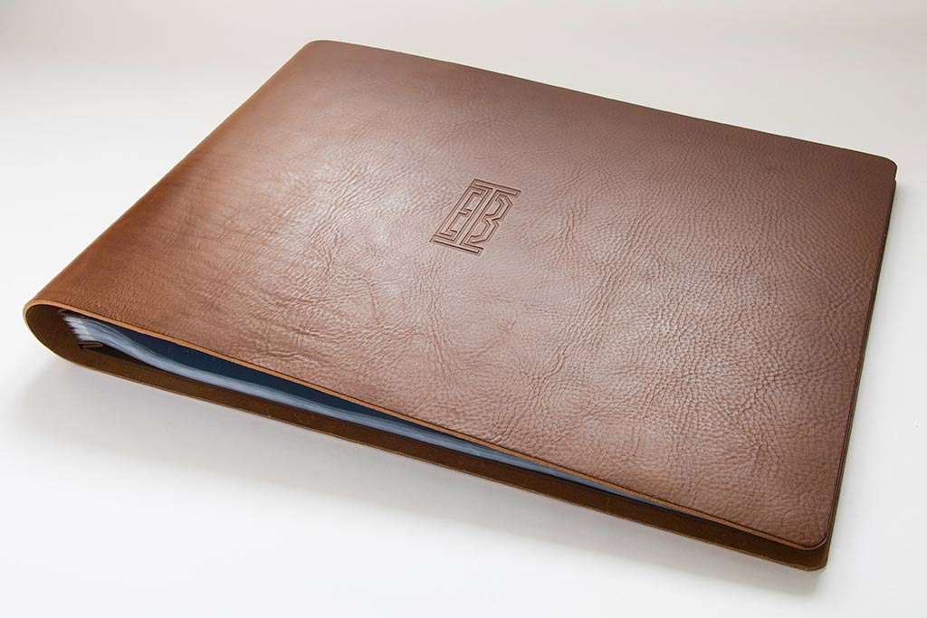 3.5mm brown leather A3 landscape portfolio with blind debossed cover