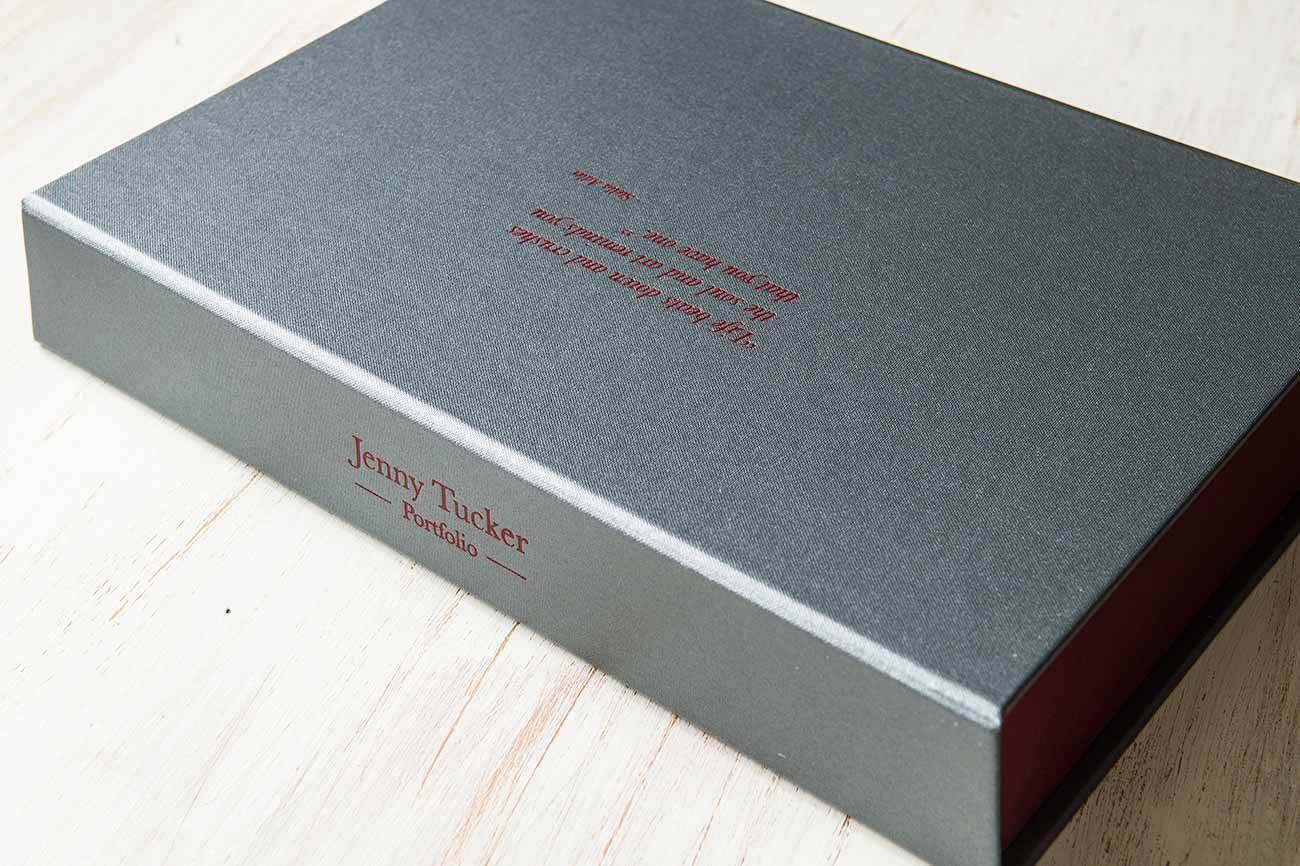 A4 drop back clamshell portfolio box - Pewter buckram cover and Vistula book cloth tray with red foiling