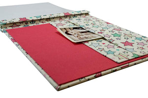red cotton fabric babies scrapbook and memory keeper