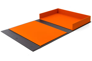 open portfolio box in orange and black custom made for designer or photographer