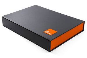 custom made portfolio box with personalised cover in black and orange.