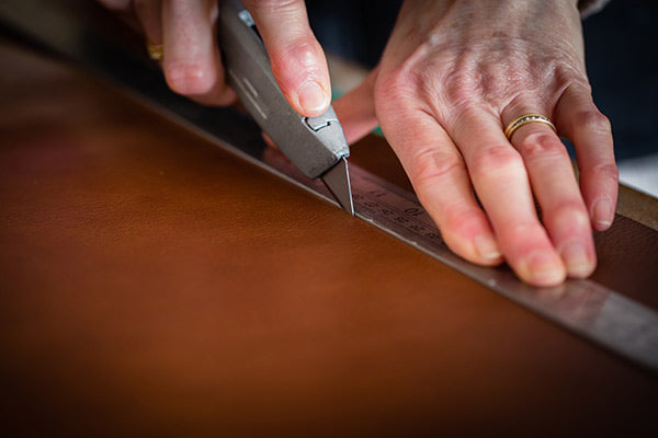 cutting out leather for a leather portfolio H&Co 600px