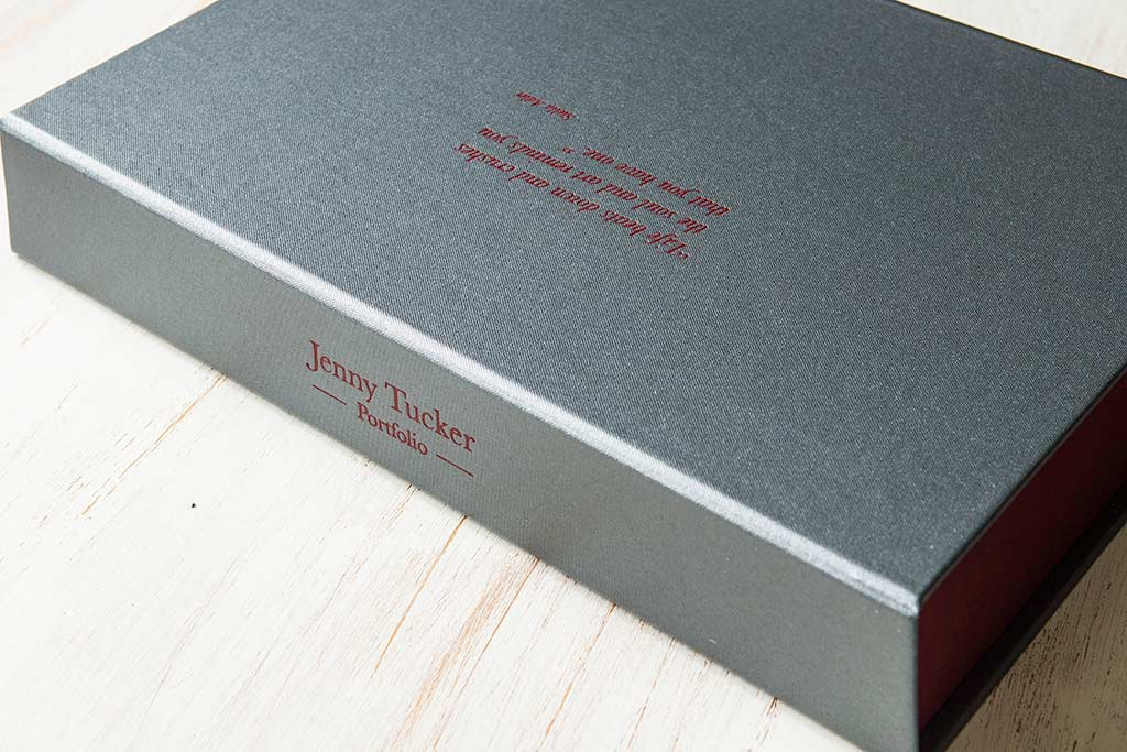 A4 half clamshell portfolio box in Pewter buckram and red foil personalisation