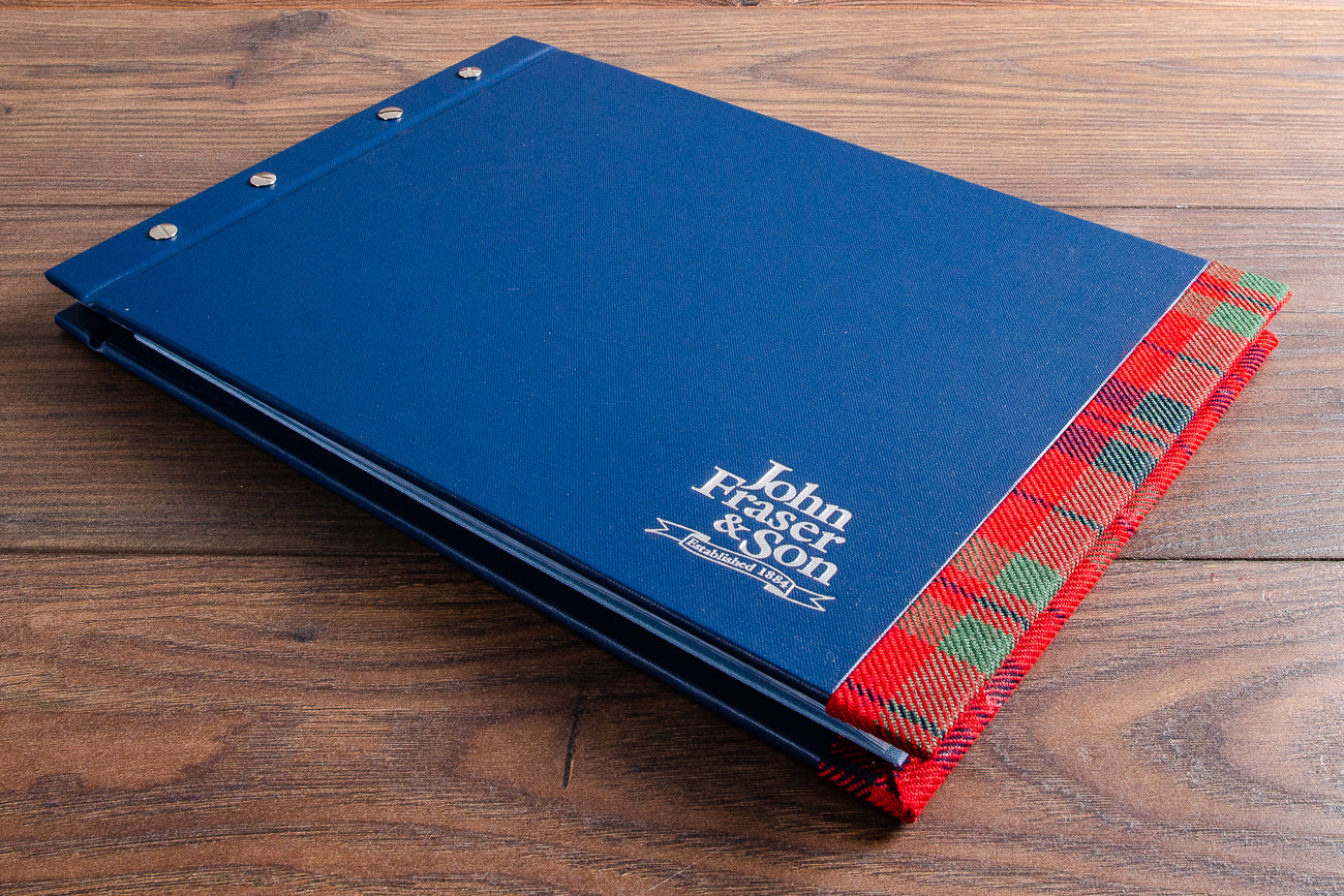 Custom sales presentation binder with tartan cloth edging and silver foil personalisation