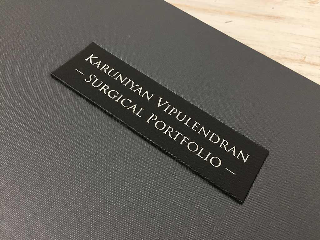 personalised surgical portfolio with name plaque and silver foil