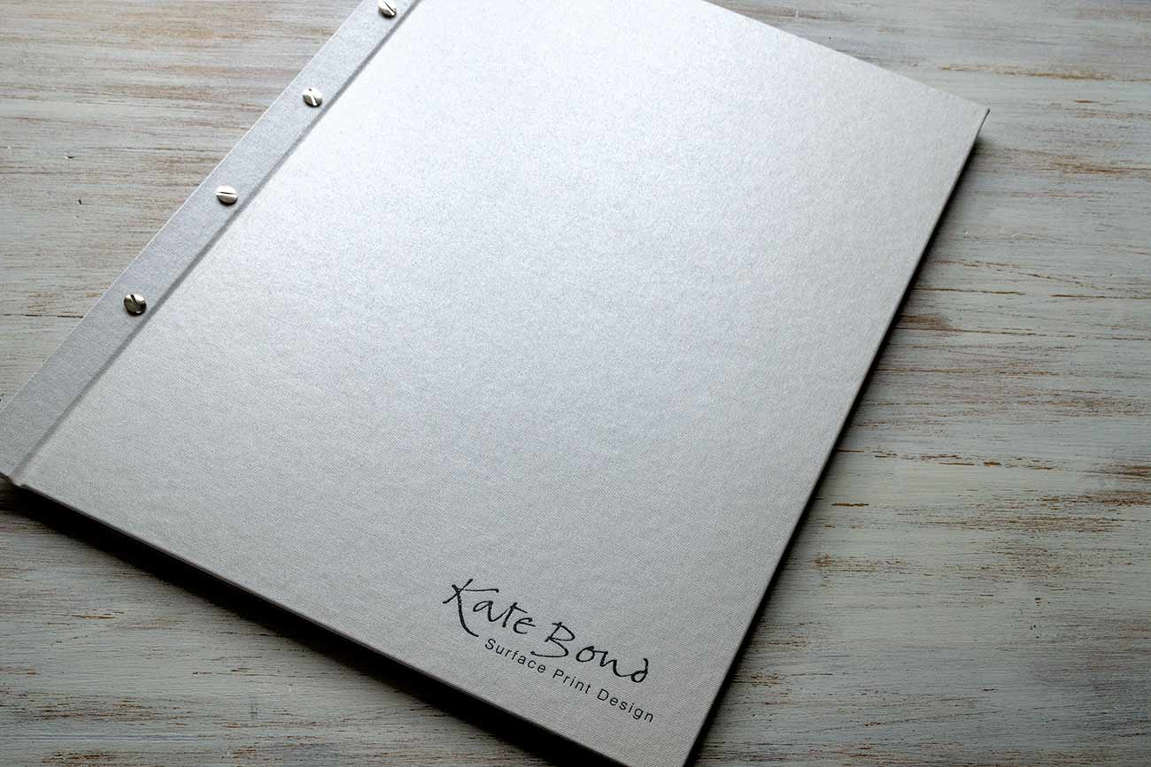 A2 exposed screw post portfolio book - Pewter buckram and black foil personalised cover