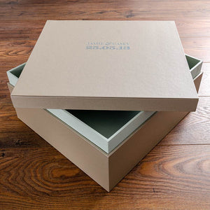 lidded keepsake box custom made in beige buckram with green foil personalisation